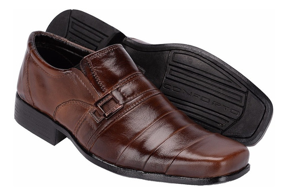 Sapato Social Bico Quadrado Couro Legítimo Exclusividade