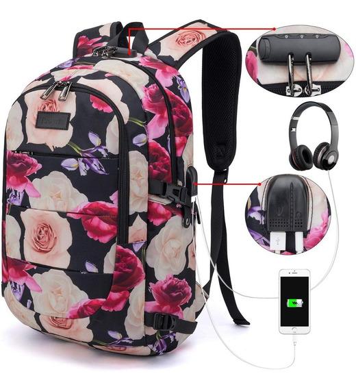 Mochilas Escolares Floral Tzowla Mujer Hermosa Laptop