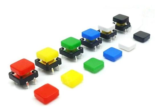 10 Pzas Push Button 4 Pines Con Capuchon 12x12mm Dif Colores