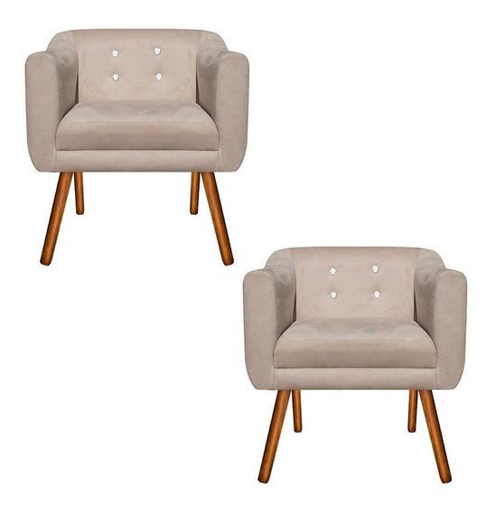 Kit 02 Poltronas Júlia Cadeira Decorativa Bege Strass