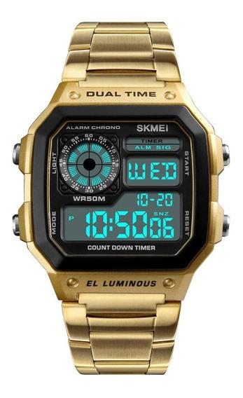 Relógio Masculino De Luxo Dourado Esportivo Aço Inoxidável