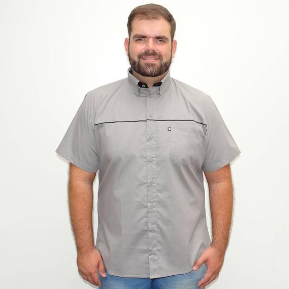 Camisa Plus Size Masculina Cinza Detalhes Preto Mais Pano