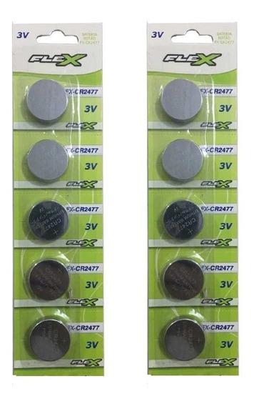 Pilha Cr2477 3v 10 Unidades Bateria Cr2477 Lote 10un Original Em Cartelas De 5un