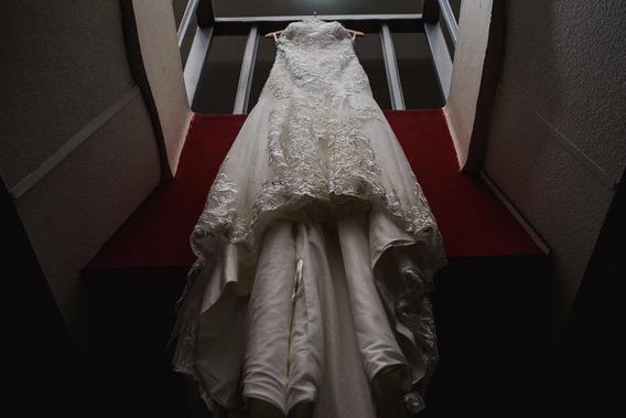 Vestido De Novia Ivory Talla Mediana, Diseño De Encaje Fino