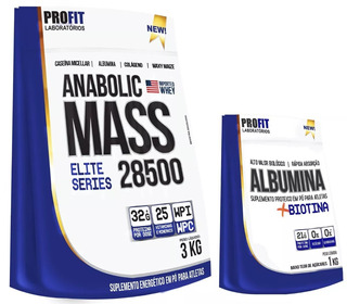 Hipercalórico Anabolic Mass 28500 3kg + Albumina 1kg Profit