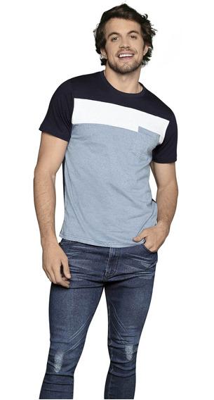 Playera Camiseta Con Blanco Con Bolsillo Hombre Bloques Azul