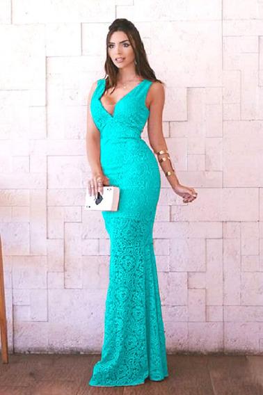 Vestido Azul Tiffany Longo Renda Festa Madrinha Formatura #1