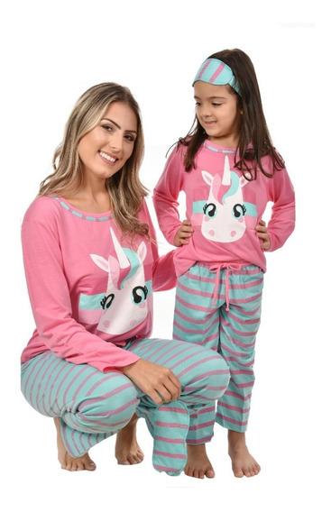 Pijamas Mãe E Filha Unicórnio Longo + Tapa Olho