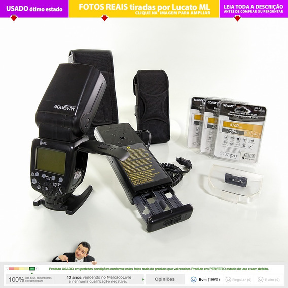 Flash Canon 600ex Rt + Bateria Extra Cp-e4 +12 Pilhas Aa  2b