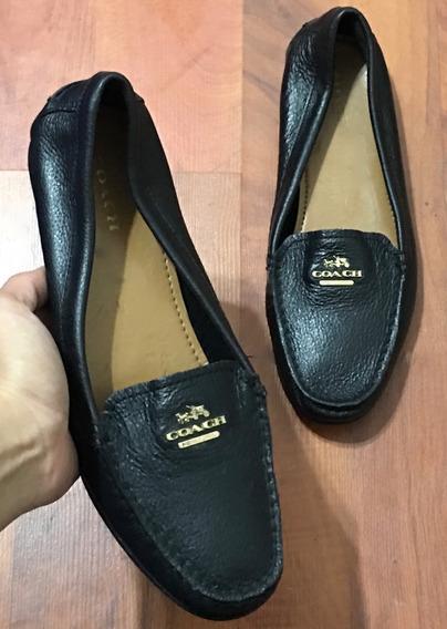Preciosos Zapatos Flats Coach Piel Fina Negros Plaquita 24.5