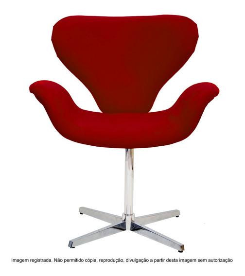 Cadeira Poltrona Tulipa Decorativa Base Giratória Cromada
