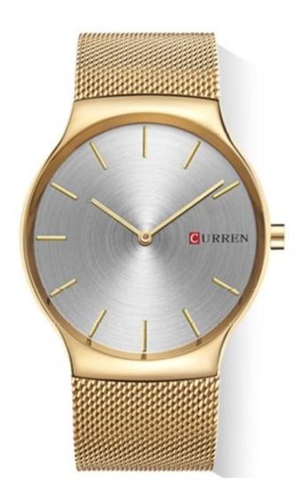Relógio Masculino Dourado Social Curren Original + Caixa