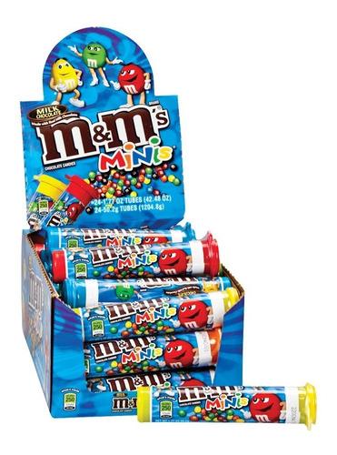 M&m Minis Chocolate Con Leche X24 Tubos De 1.94 Oz Dulces
