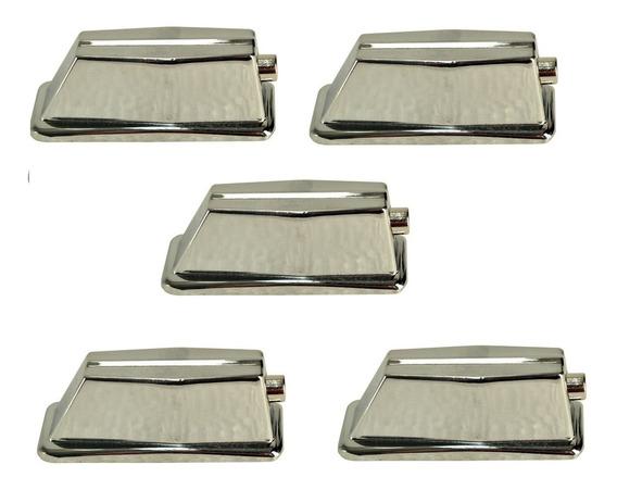 Canoa Quadrada Grande P/ Bumbo De Bateria Cromada Kit C/ 5