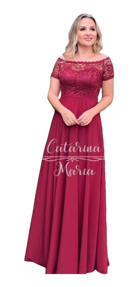 Vestido Madrinha Discreto Rose Gold Royal Marsala Manguinha