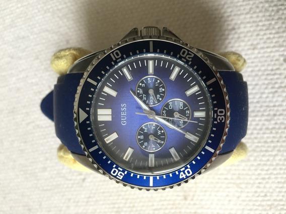 Relógio Guess Azul Mod. W90070g2 Pulseira De Silicone -