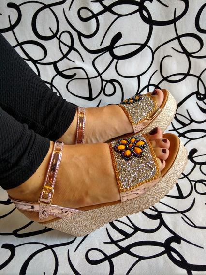 Sandalia En Plataforma Color Oro Rosa En Murano Envío Gratis