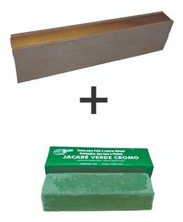 Strop De Couro Bovino Dupla Face + Pasta Massa Verde Cromo Jacare 400 Gramas Para Afiar Facas Canivete Navalha Soleta
