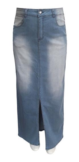 Saia Jeans Evangélica Longa Plus Size Tamanhos 46 Ao 60