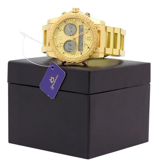 Relógio Masculino Dourado Preto Original + Caixa + Nota Fisc