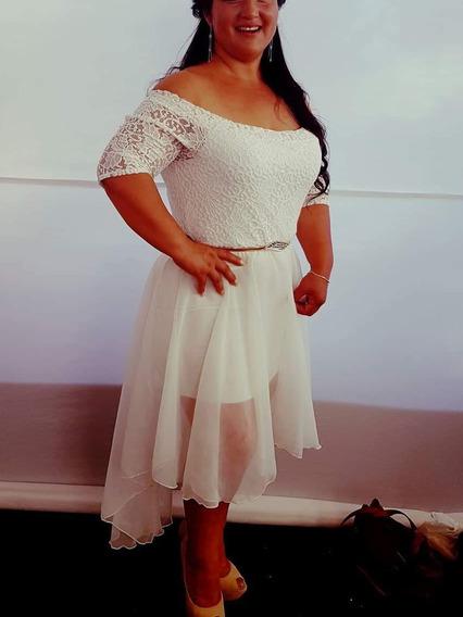 Vestido De Boda Civil Blanco Invierno Tallas Grandes
