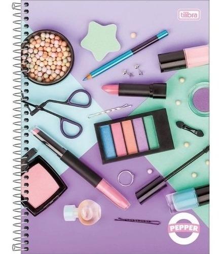 Caderno Espiral Feminino Pepper 80 Folhas Maquiagem Tilibra