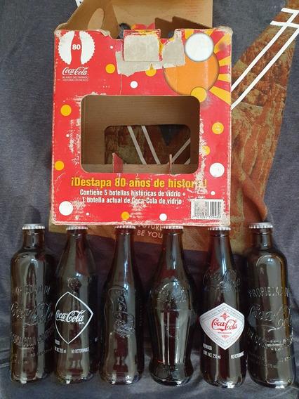 Coleccion Coca Cola Botellas Diversos Años. 80 Años.
