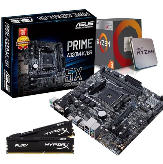 Kit Upgrade Gamer Asus Prime/ Ryzen R3 2200g/ 8gb Ddr4 Hyper
