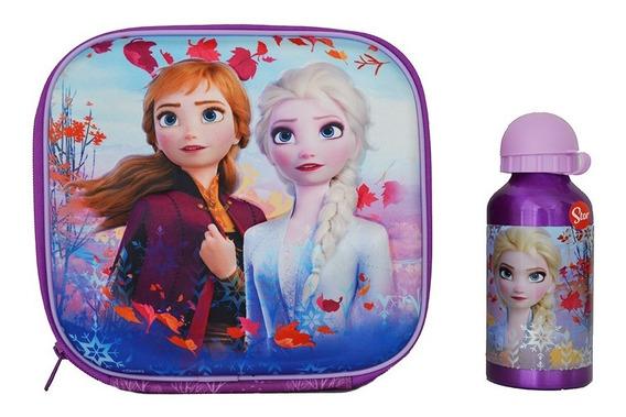 Lunchera Termica Escolar Frozen 3d Coolerbag Con Botella