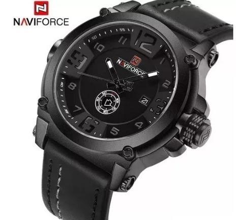 Relógio Masculino Militar Pulseira Couro Naviforce Original