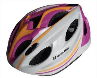 Capacete Ciclismo High One Infantil Lilas E Brancotam M