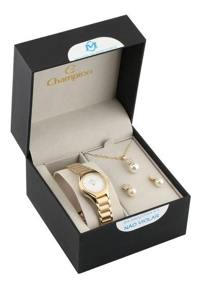 Relógio Champion Analógico Ch26917w Feminino + Semijóia
