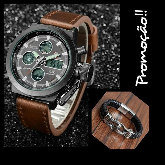 Relógio Goldenhour Militar + Pulseira De Couro Diâmetro 21cm