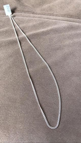 Cordão Prata Tipo 950 Elo 1x1 Tam 50 Cm