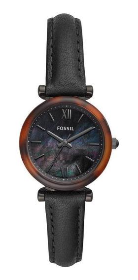 Relógio Feminino Fossil Mini Es4650/0pn 28mm Couro Preto