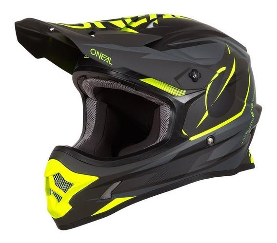 Capacete Oneal 3 Series Riff Preto Flúor Motocross Trilha