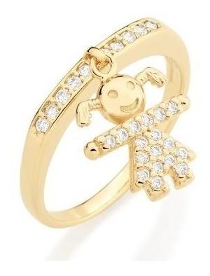Anel Rommanel Menina Com Zirconias 511461 Folheado A Ouro