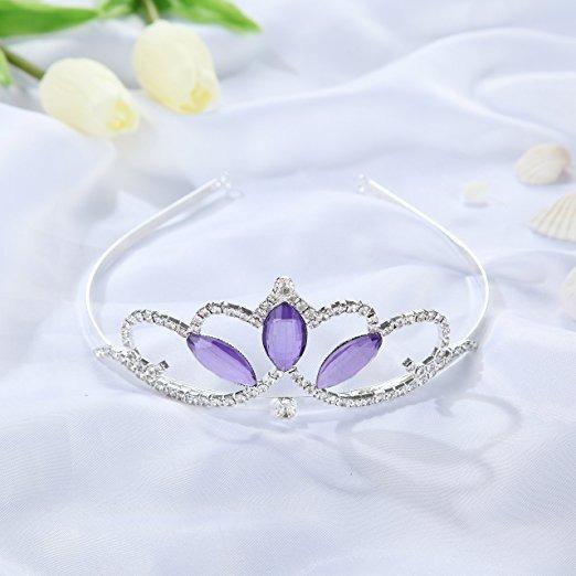 Cristal Violeta Vinjewelry Niñas Corona De La Tiara De Plata