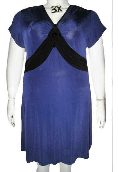 Vestido Azul/violeta Con Pedreria Negra Talla 3x (42/44w Mex) Citiknits
