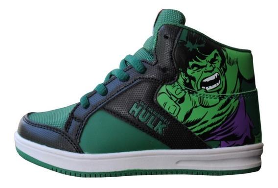 Zapatillas Botitas Verdes Hulk Marvel Atomik Skater Cordones