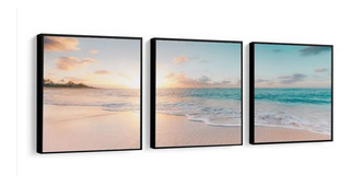 Quadro Decorativo Grande Mar Por Do Sol Mosaico Com Moldura
