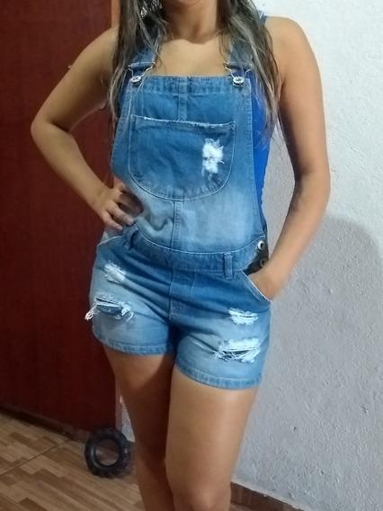 Jardineira Jeans Shorts