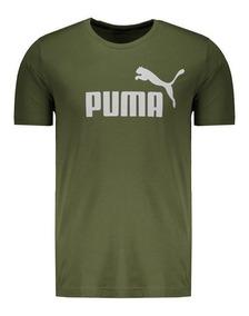 Camiseta Puma Essentials Logo Verde E Branco