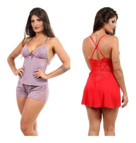 Kit 1 Short Doll Nadador + 1 Camisola Renda Sexy