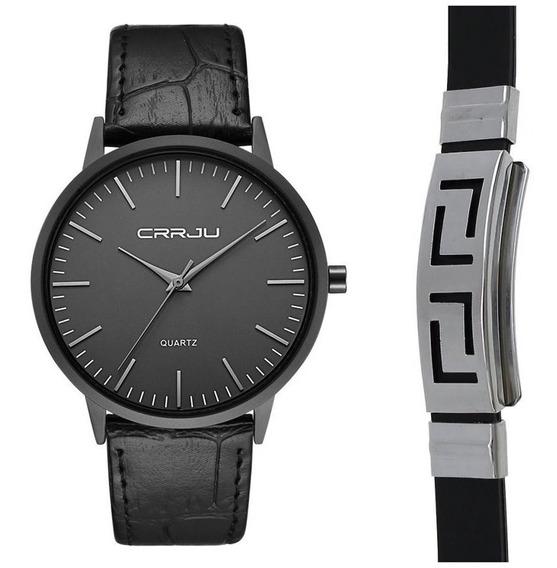 Relógio Masculino Casual Ultra Fino De Luxo Preto + Pulseira