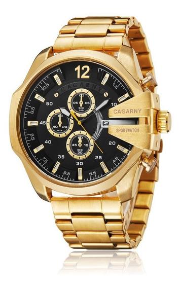 Relógio Cagarny 6839 Luxo Masculino Brasil Com Caixa Dourado