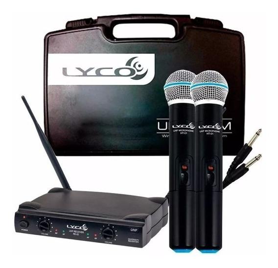 Microfones Lyco Uh02mm Uhf Sem Fio Duplo Oferta !