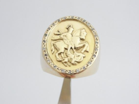 Anel De Ouro 18k - Imagem De São Jorge - Com Pedras