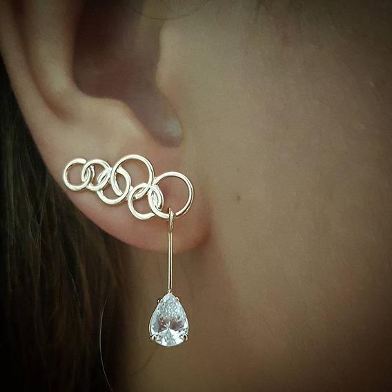 Brinco Ear Cuff Argolas C/ Gota Zirconias Rommanel 525858