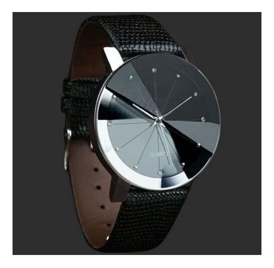 Relógio De Pulso Para Homem Casual Pulseira De Couro Preto